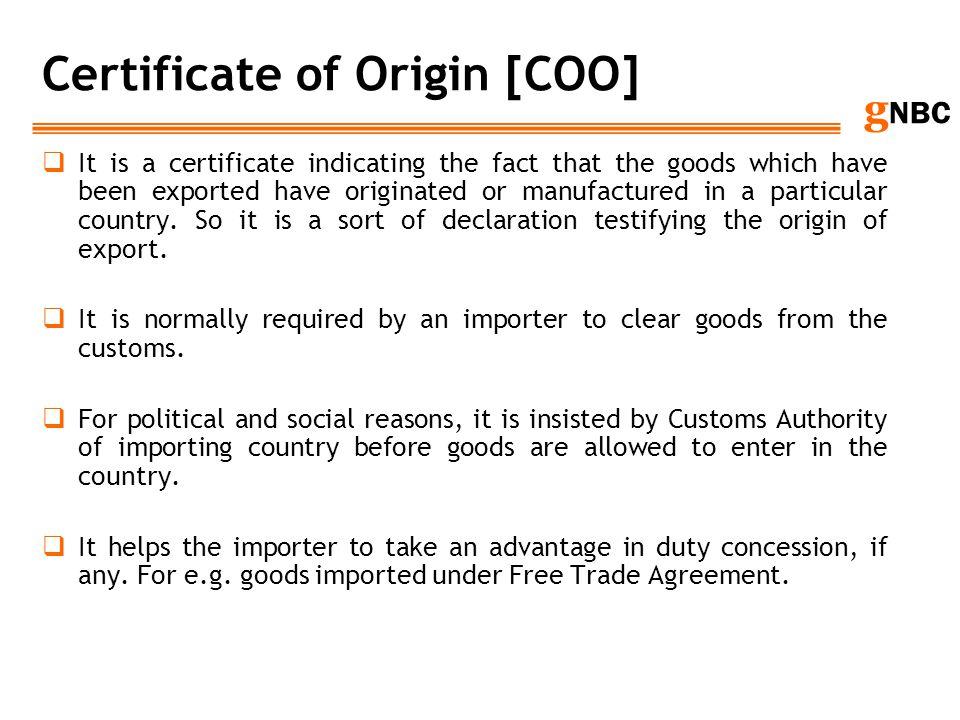 Certificate of Origin [COO]